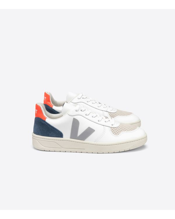 TENIS-VERT-V10-COURO-WHITE-OXFORD-GREY-ORANGE-FLUO-BRANCO